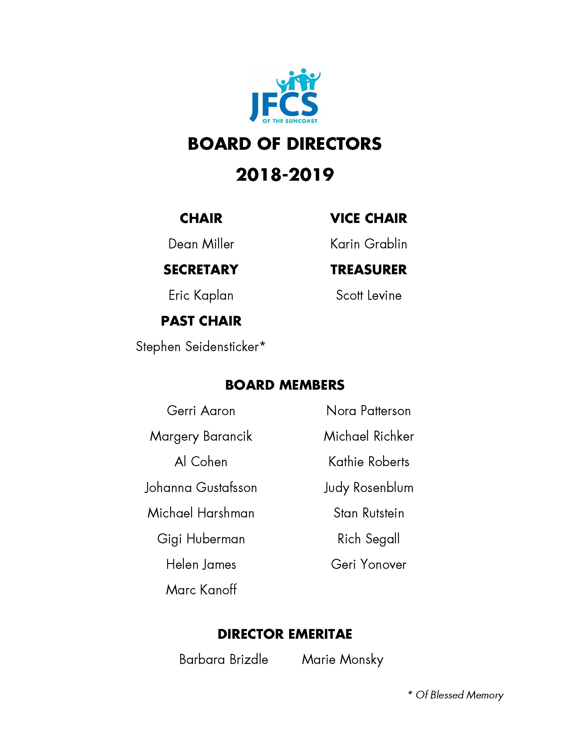 JFCS - Board of Directors 2018 -2019